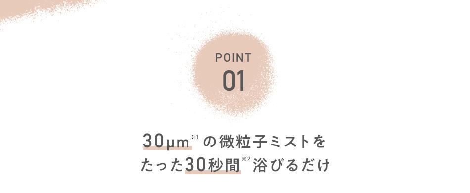 POINT01 30μm※1の微粒子ミストをたった30秒間浴びるだけ