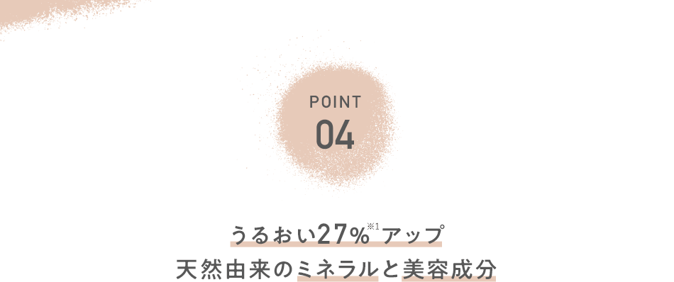 POINT04 うるおい27% アップ天然由来のミネラルと美容成分