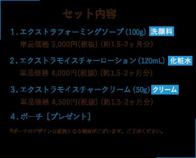 セット内容 1. エクストラフォーミングソープ(100g) 単品価格 3,000円(税抜) (約1.5-2ヶ月分) 2. エクストラモイスチャーローション(120mL) 単品価格 4,000円(税抜) (約1.5-2ヶ月分) 3. エクストラモイスチャークリーム(50g) 単品価格 4,500円(税抜) (約1.5-2ヶ月分) 4. ポーチ[プレゼント]*ポーチのデザインは変更となる場合がございます。ご了承ください。